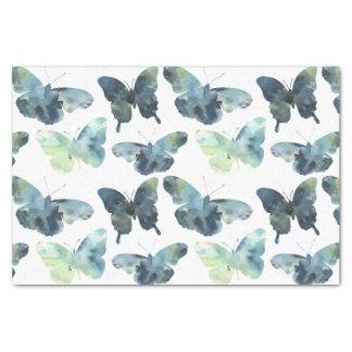 Papel De Seda Teste padrão de borboletas azul verde artístico da