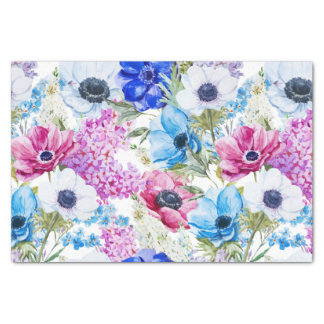 Papel De Seda Teste padrão floral da aguarela pintado mão roxa