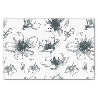 Papel De Seda Teste padrão floral preto & branco