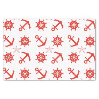 Papel De Seda Teste padrão náutico vermelho