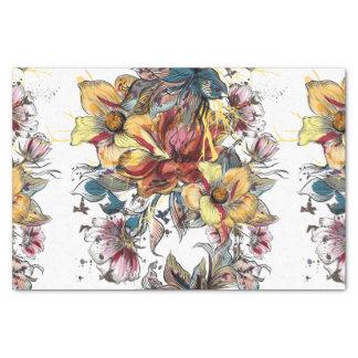 Papel De Seda Teste padrão tirado realístico do buquê floral