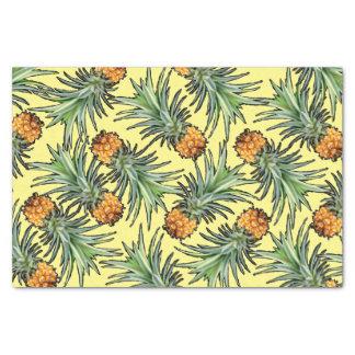 Papel De Seda Teste padrão tropical do abacaxi no amarelo