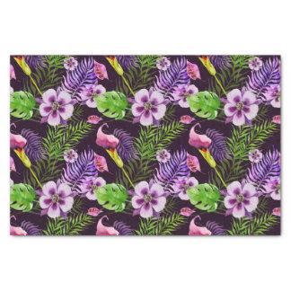 Papel De Seda Teste padrão tropical roxo preto da aguarela da