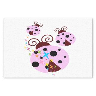 Papel De Seda Três cor-de-rosa e joaninha preto com estrelas