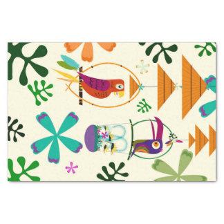 Papel De Seda Tropical retro do vintage moderno dos pássaros de