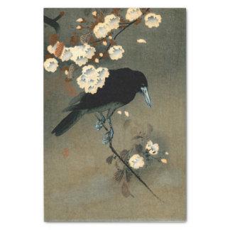 Papel De Seda Um corvo e uma flor pelo vintage de Ohara Koson