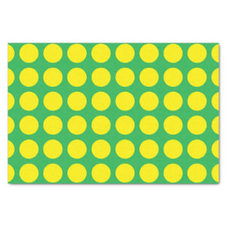 Papel De Seda Verde amarelo das bolinhas