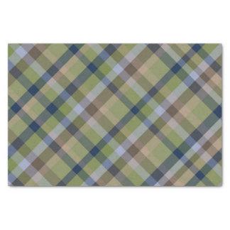 Papel De Seda Verde de musgo dos azuis marinhos e xadrez de