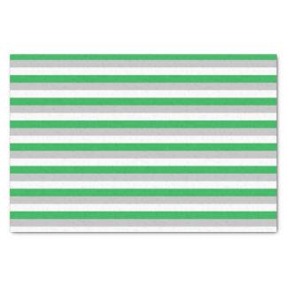 Papel De Seda Verde, prata e listras brancas