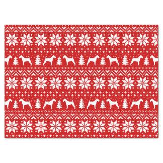 Papel De Seda Vermelho do teste padrão do Natal das silhuetas de