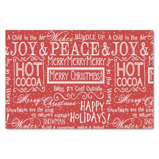 Papel De Seda Vermelho e branco do verso do Natal