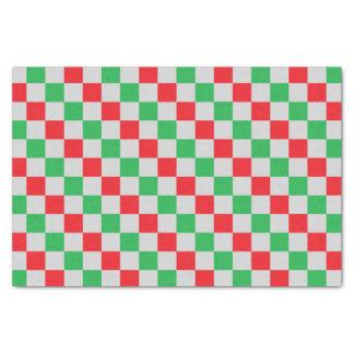 Papel De Seda Vermelho, verde e prata Checkered