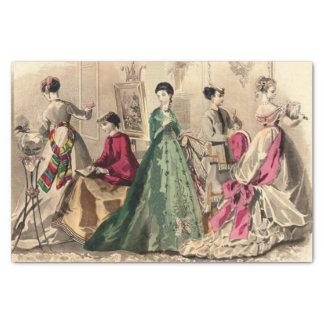 Papel De Seda Vestido do Victorian com arco cor-de-rosa