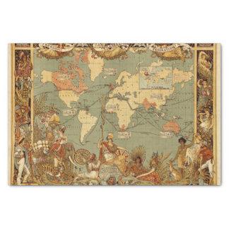 Papel De Seda Vintage antigo 1886 do mapa do mundo