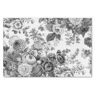 Papel De Seda Vintage cinzento preto & branco Toile floral No.3