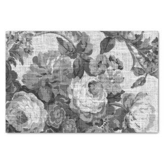 Papel De Seda Vintage cinzento preto & branco Toile floral No.5