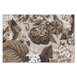 Papel De Seda Vintage Toile floral No.1 de Brown do tom do Sepia