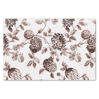 Papel De Seda Vintage Toile floral No.2 de Brown do Sepia