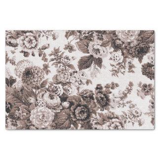 Papel De Seda Vintage Toile floral No.3 de Brown do tom do Sepia