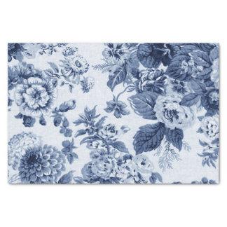 Papel De Seda Vintage Toile floral No.3B do azul de índigo