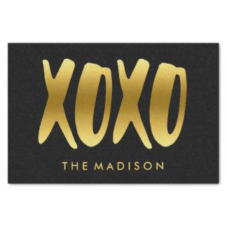 Papel De Seda XOXO abraça e beija o preto da tipografia do ouro