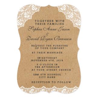 Papel do artesanato do laço do vintage do convite
