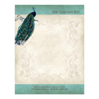 Papel do resumo do cabeçalho do pavão do pergaminh panfleto personalizado