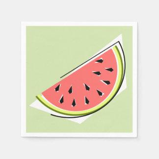 Papel dos guardanapo do verde da fatia da melancia