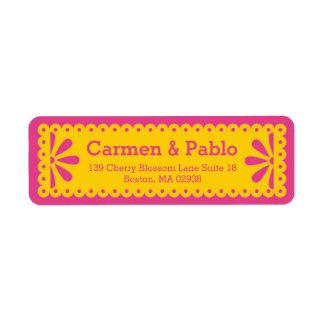 Papel endereço do remetente amarelo & fúcsia de etiqueta endereço de retorno