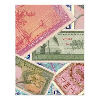 Papel moeda cartão postal