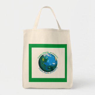 Papel, plástico, ou saco do planeta bolsa tote