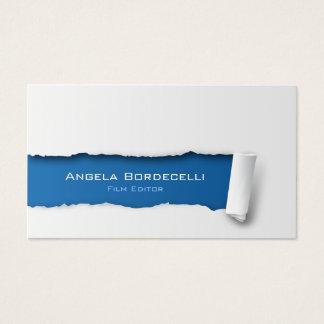 Papel rasgado cartão de visita do editor do filme