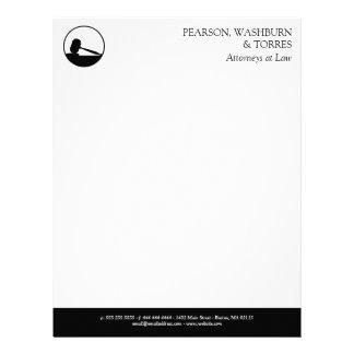 Papel Timbrado Advogados pretos & brancos do ícone do Gavel na
