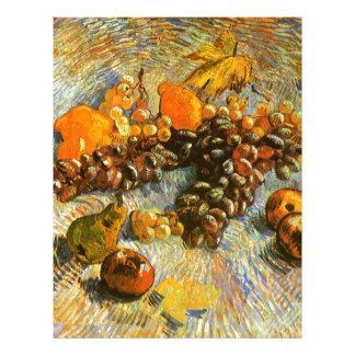 Papel Timbrado Ainda vida com maçãs, peras, uvas - Van Gogh