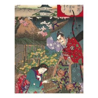 Papel Timbrado Arte bonita japonesa do samurai da gueixa