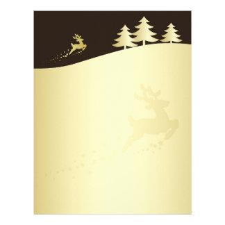 Papel Timbrado Árvore de Natal dourada com rena - cabeçalho