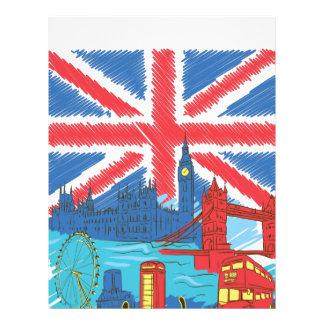Papel Timbrado bandeira e cidades solitárias do vintage