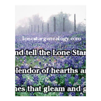 Papel Timbrado Bluebonnet solitário do poema da árvore