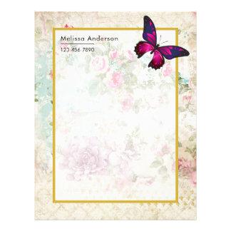 Papel Timbrado Borboleta cor-de-rosa e rosas gastos do vintage