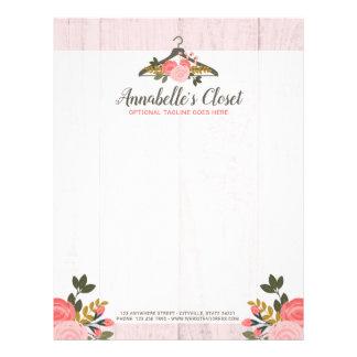 Papel Timbrado Boutique cor-de-rosa floral da forma do armário do