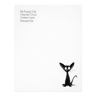 Papel Timbrado Cabeçalho oriental preto engraçado do gato de