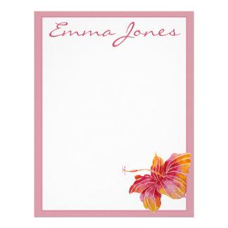 Papel Timbrado Cabeçalho personalizado do hibiscus flor havaiana