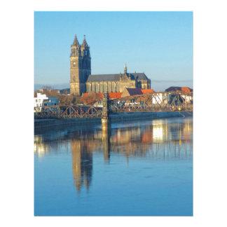 Papel Timbrado Catedral de Magdeburgo com rio Elbe 01