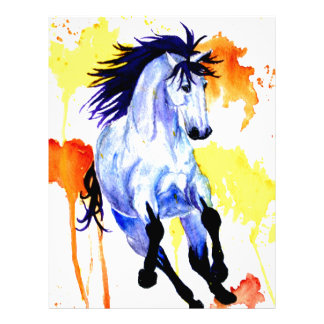 Papel Timbrado Cavalo selvagem da aguarela