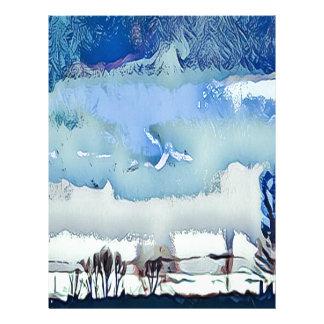 Papel Timbrado Céu colorido do horizonte do abstrato do azul do