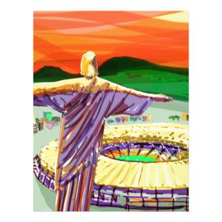 Papel Timbrado Christ The Redemer and Maracanã Stadium - Rio - Br