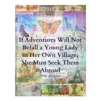 Papel Timbrado Citações da aventura do viagem de Jane Austen