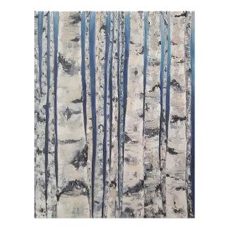 Papel Timbrado Código Morse das árvores de vidoeiro