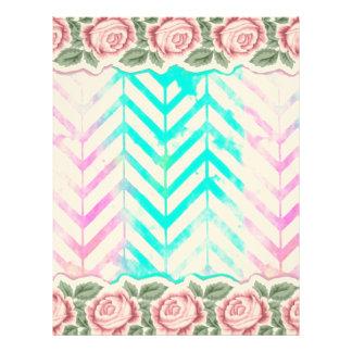 Papel Timbrado Cor-de-rosa floral e azul do monograma elegante