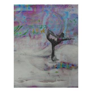 Papel Timbrado Dançarino na menina da ioga da neve
